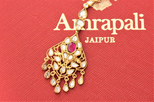 Buy exquisite Amrapali silver gold plated glass maangtikka online in USA. Give yourself a beautiful traditional makeover this wedding season with exquisite gold plated jewelry, silver jewelry from Pure Elegance Indian fashion boutique in USA.-flatlay