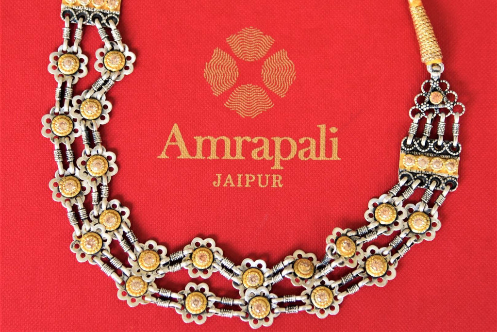 Shop beautiful Amrapali silver gold plated two-tone necklace online in USA. Add spark to your festive style with beautiful silver gold plated jewelry in USA from Pure Elegance Indian fashion store.-flatlay