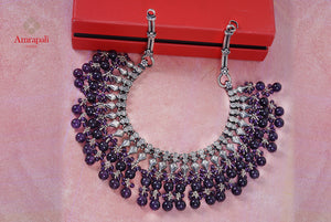Shop Amrapali silver necklace online in USA with layered amethyst beads. Enhance your ethnic attires with exquisite Amrapali silver jewelry, silver necklace, silver earrings from Pure Elegance Indian fashion store in USA.-flatlay