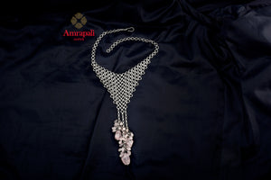 Buy Amrapali silver mesh necklace online in USA with pink stone tassels. Enhance your ethnic attires with exquisite Amrapali silver gold plated jewelry, silver gold plated necklace from Pure Elegance Indian fashion store in USA.-flatlay