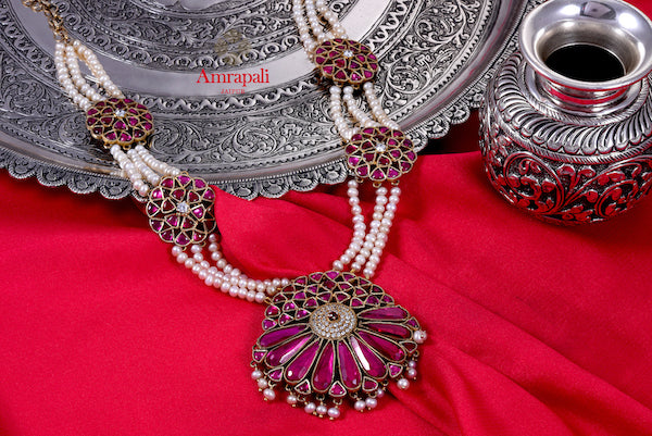 Buy Amrapali silver gold plated pearl and floral glass necklace online in USA. Enhance your ethnic attires with exquisite Amrapali silver gold plated jewelry, gold plated necklace, gold plated earrings from Pure Elegance Indian fashion store in USA.-flatlay
