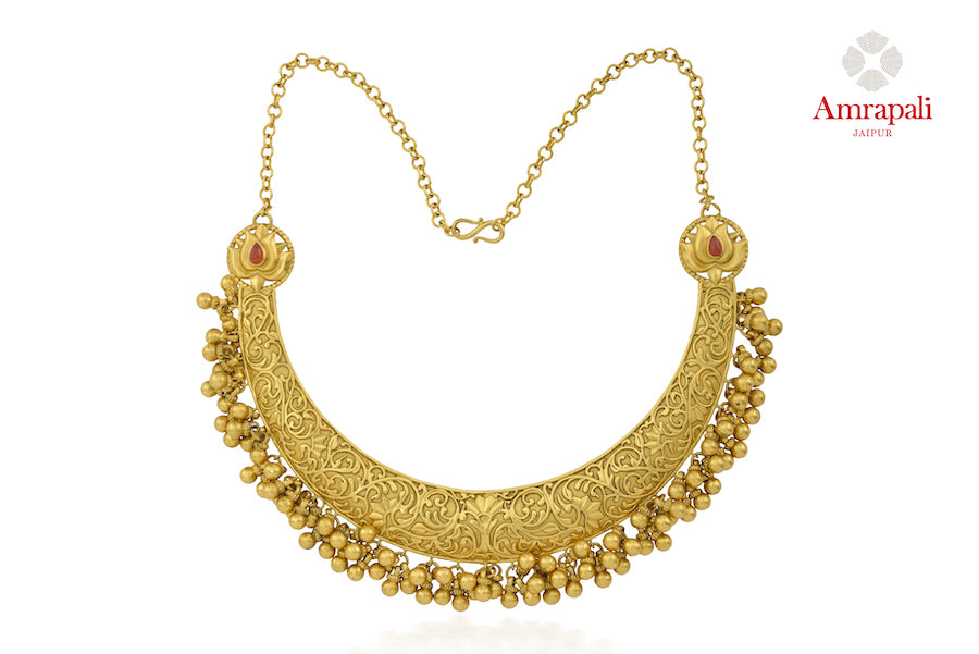 Shop Amrapali silver gold plated engraved necklace online in USA with beads. Enhance your ethnic attires with exquisite Amrapali silver gold plated jewelry, gold plated necklace, gold plated earrings from Pure Elegance Indian fashion store in USA.-front