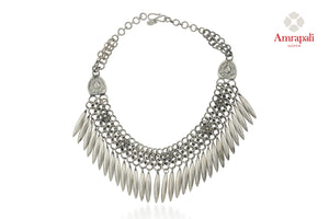 Shop beautiful Amrapali silver necklace online in USA with leaf tassels. Enhance your ethnic attires with exquisite Amrapali silver gold plated jewelry, silver gold plated necklace from Pure Elegance Indian fashion store in USA.-front