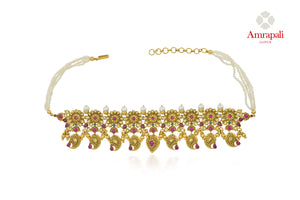 Buy Amrapali silver gold plated stone choker necklace online in USA with pearls. Enhance your ethnic attires with exquisite Amrapali silver gold plated jewelry, silver gold plated necklace from Pure Elegance Indian fashion store in USA.-front