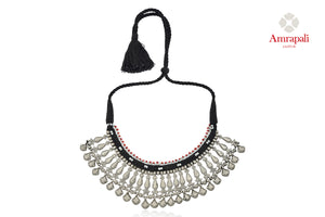Shop stunning Amrapali heavy silver thread necklace online in USA. Enhance your ethnic attires with exquisite Amrapali silver jewelry, silver necklace from Pure Elegance Indian fashion store in USA.-front
