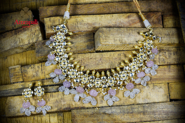 Shop Amrapali silver gold plated glass necklace online in USA with pink stones. Enhance your ethnic attires with exquisite Amrapali silver gold plated jewelry, silver gold plated necklace from Pure Elegance Indian fashion store in USA.-flatlay