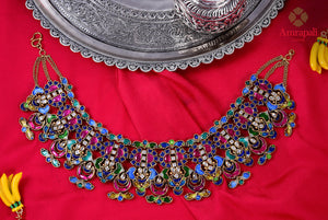 Buy gorgeous Amrapali silver gold plated colorful glass and enamel necklace online in USA. Enhance your ethnic attires with exquisite Amrapali silver gold plated jewelry, silver gold plated necklace from Pure Elegance Indian fashion store in USA.-flatlay