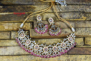 Buy beautiful Amrapali silver gold plated enamel and glass necklace set online in USA. Enhance your ethnic attires with exquisite Amrapali silver gold plated jewelry, silver gold plated necklace from Pure Elegance Indian fashion store in USA.-flatlay