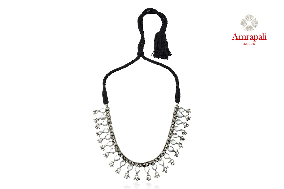 Buy beautiful Amrapali glass leaves silver thread necklace online in USA. Enhance your ethnic attires with exquisite Amrapali silver jewelry, silver necklace from Pure Elegance Indian fashion store in USA.-full view