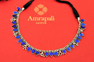 Buy beautiful Amrapali blue glass leaf silver thread necklace online in USA. Choose from a beautiful range of Indian jewelry, silver necklaces, silver earrings, gold plated jewelry from Pure Elegance Indian fashion store in USA.-front