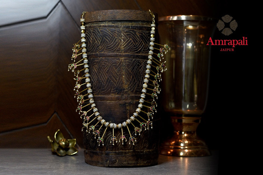 Shop gorgeous Amrapali silver gold plated delicate floral tassels necklace online in USA. Enhance your ethnic attires with exquisite Amrapali silver gold plated jewelry, silver gold plated necklace from Pure Elegance Indian fashion store in USA.-full view