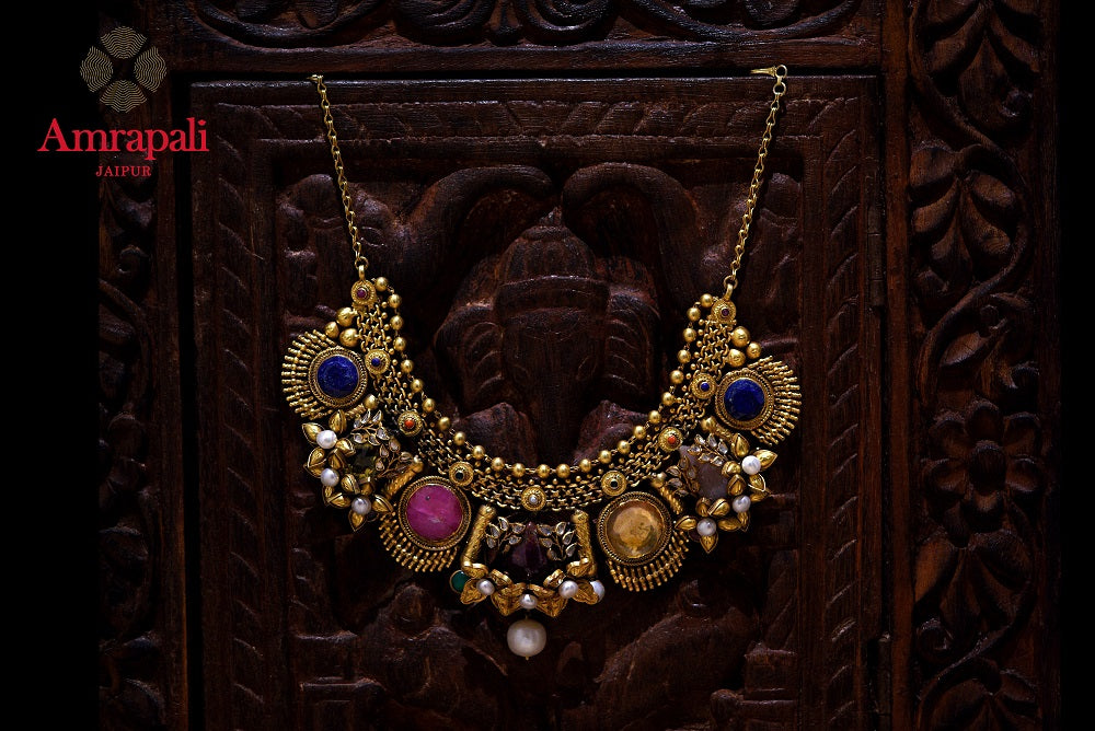Buy exquisite Amrapali silver gold plated multicolor stone and pearl necklace online in USA. Enhance your ethnic attires with exquisite Amrapali silver gold plated jewelry, silver gold plated necklace from Pure Elegance Indian fashion store in USA.-front