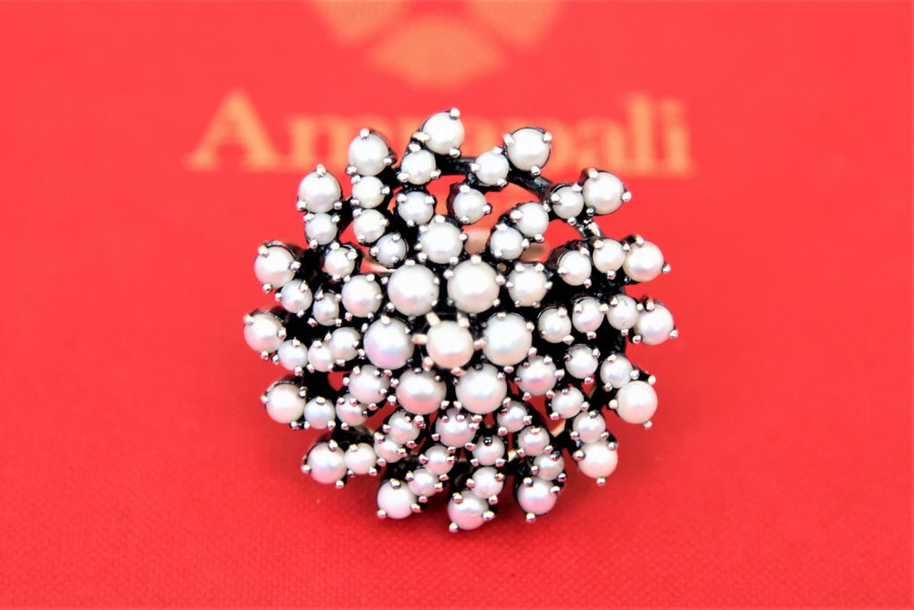 Shop beautiful Amrapali floral pearl silver ring online in USA. Choose from a beautiful range of Indian jewelry, silver necklaces, silver earrings, gold plated jewelry from Pure Elegance Indian fashion store in USA.-front