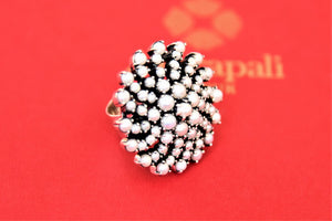 Shop beautiful Amrapali floral pearl silver ring online in USA. Choose from a beautiful range of Indian jewelry, silver necklaces, silver earrings, gold plated jewelry from Pure Elegance Indian fashion store in USA.-side