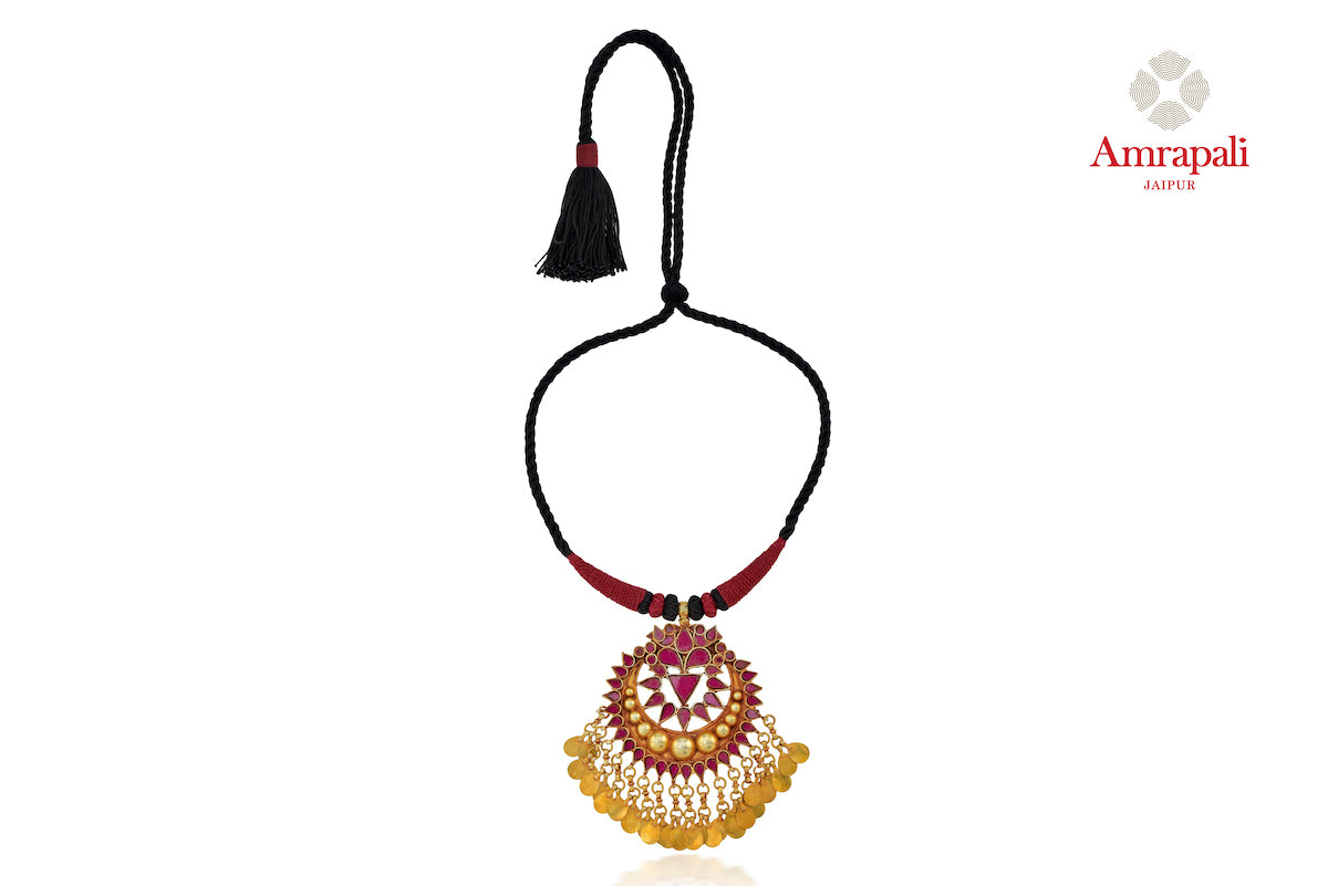 Shop Amrapali silver gold plated glass pendant thread necklace online in USA. Enhance your ethnic attires with exquisite Amrapali silver gold plated jewelry, silver gold plated necklace from Pure Elegance Indian fashion store in USA.-front