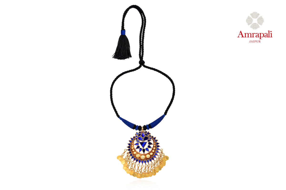 Buy Amrapali silver gold plated blue glass pendant thread necklace online in USA. Enhance your ethnic attires with exquisite Amrapali silver gold plated jewelry, silver gold plated necklace from Pure Elegance Indian fashion store in USA.-front