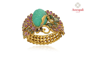 Shop beautiful silver gold plated heavy pink glass bangle online in USA with engraved green stone. Enhance your ethnic attires with exquisite Amrapali silver gold plated jewelry, silver gold plated bangle from Pure Elegance Indian fashion store in USA.-front