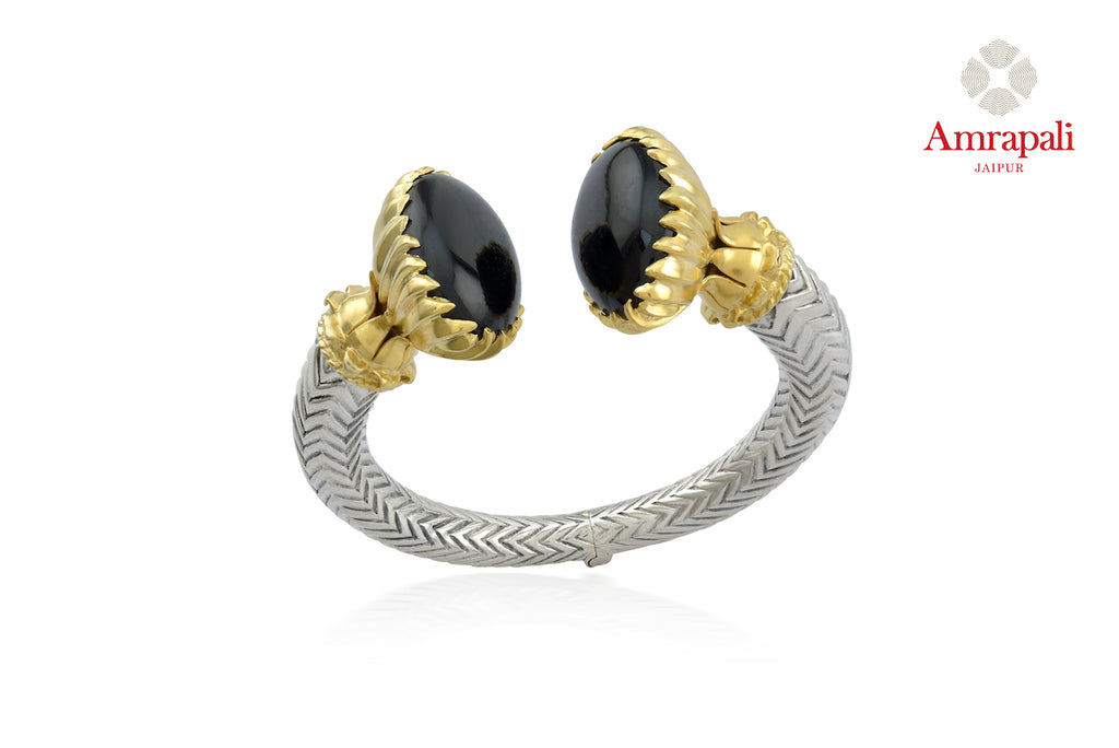 Buy attractive silver gold plated two-tone black stone bracelet online in USA. Enhance your ethnic attires with exquisite Amrapali silver gold plated jewelry, silver gold plated necklace from Pure Elegance Indian fashion store in USA.-front
