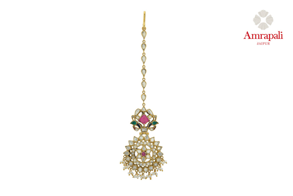 Shop stunning silver gold plated glass floral maangtikka online in USA. Enhance your ethnic attires with exquisite Amrapali silver gold plated jewelry, silver gold plated bangle from Pure Elegance Indian fashion store in USA.-front