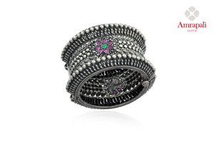 Shop beautiful antique silver heavy stone bangle online in USA. Enhance your ethnic attires with exquisite Amrapali silver jewelry, silver bangle from Pure Elegance Indian fashion store in USA.-full view
