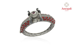 Buy beautiful Amrapali red stone heavy silver bangle online in USA. Enhance your ethnic attires with exquisite Amrapali silver jewelry, silver bangle from Pure Elegance Indian fashion store in USA.-front