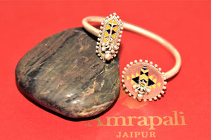 Shop Amrapali enamel silver ghunroo adjustable bangle online in USA. Enhance your ethnic attires with exquisite Amrapali silver jewelry, silver necklace, silver gold plated jewelry, silver earrings, silver bangles from Pure Elegance Indian fashion store in USA.-full view