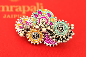 Buy gorgeous Amrapali colorful enamel silver ghungroo ring online in USA. Choose from a beautiful range of Indian jewelry, silver necklaces, silver earrings, gold plated jewelry from Pure Elegance Indian fashion store in USA.-front