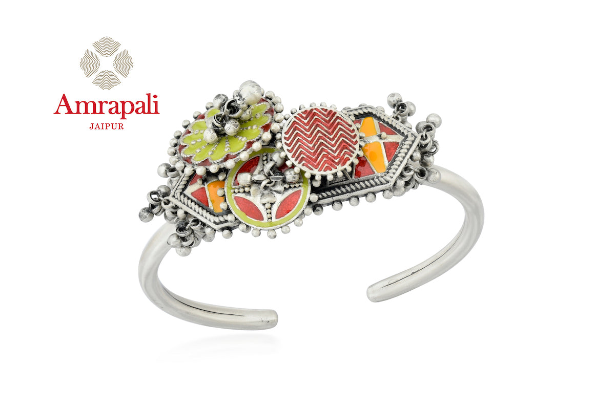 Buy beautiful Amrapali colorful enamel adjustable silver bangle online in USA with ghungroo. Enhance your ethnic attires with exquisite Amrapali silver jewelry, silver bangle from Pure Elegance Indian fashion store in USA.-front