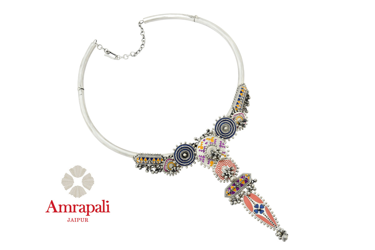 Shop Amrapali colorful enamel silver hasli ghungroo necklace online in USA. Enhance your ethnic attires with exquisite Amrapali silver jewelry, silver necklace from Pure Elegance Indian fashion store in USA.-front