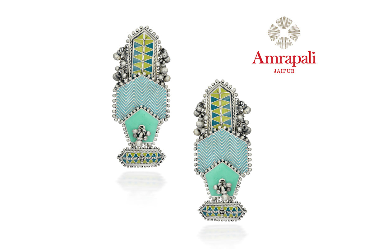 Buy Amrapali blue and green enamel geometric silver ghungroo earrings online in USA. Enhance your ethnic attires with exquisite Amrapali silver jewelry, silver necklace from Pure Elegance Indian fashion store in USA.-front