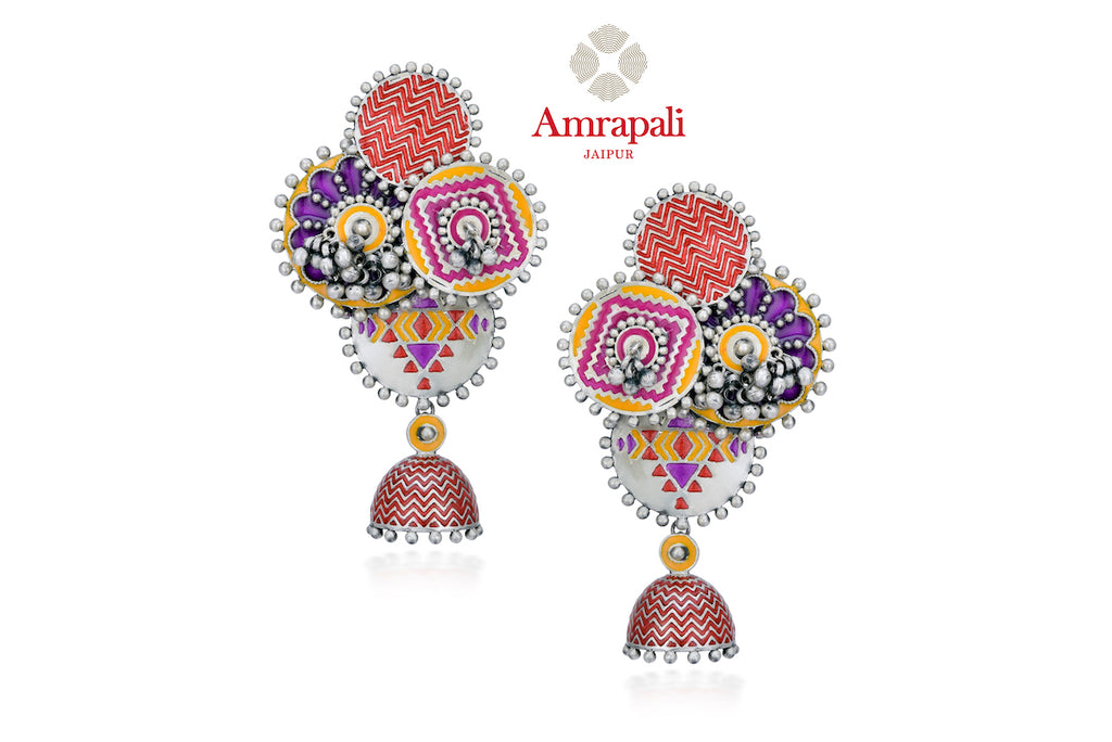 Shop beautiful Amrapali bright enamel silver ghungroo earrings online in USA. Enhance your ethnic attires with exquisite Amrapali silver jewelry, silver earrings from Pure Elegance Indian fashion store in USA.-front