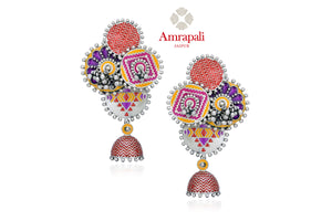 Buy stunning Amrapali colorful enamel silver ghungroo earrings online in USA. Enhance your ethnic attires with exquisite Amrapali silver jewelry, beautful silver earrings from Pure Elegance Indian fashion store in USA.-front