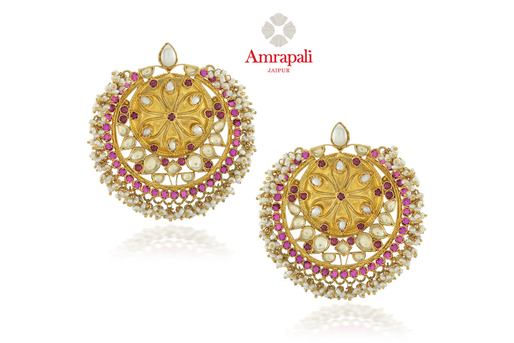Buy gorgeous Amrapali silver gold plated glass floral earrings online in USA with pearl beads. Enhance your ethnic attires with exquisite Amrapali silver gold plated wedding jewelry, silver gold plated earrings from Pure Elegance Indian fashion store in USA.-front