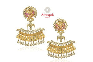 Buy beautiful Amrapali silver gold plated pink and white glass floral top earrings online in USA. Enhance your ethnic attires with exquisite Amrapali silver gold plated wedding jewelry, silver gold plated earrings from Pure Elegance Indian fashion store in USA.-front