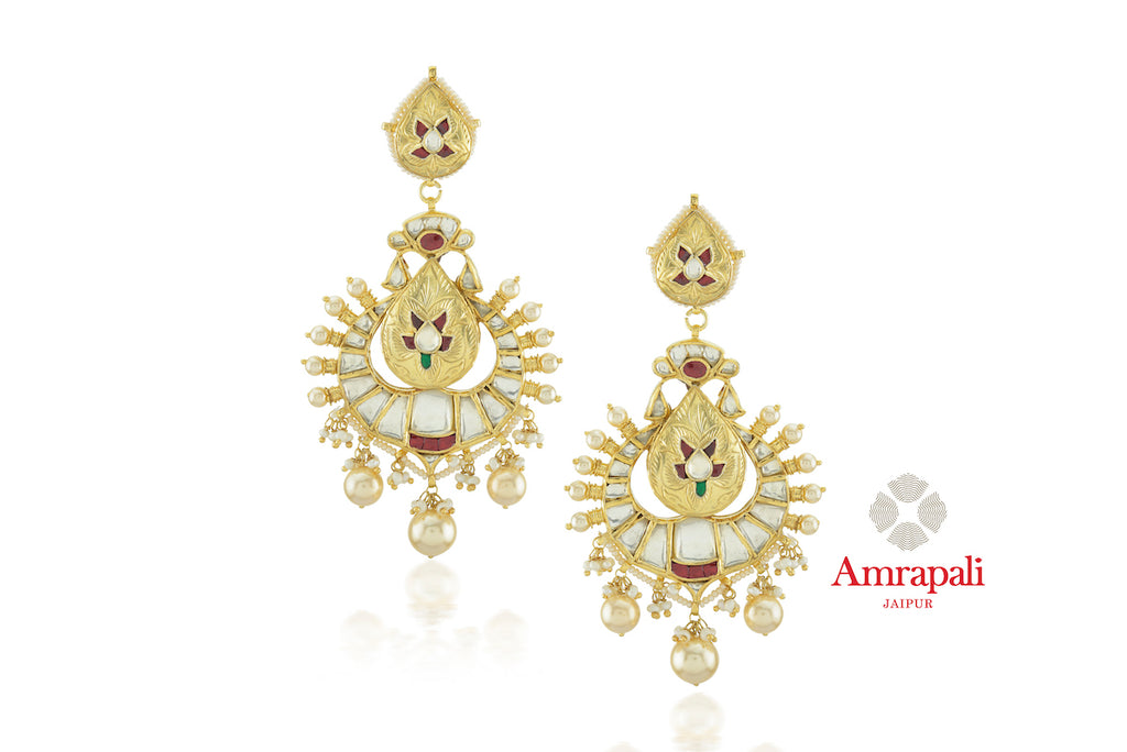 Shop stunning Amrapali silver gold plated glass and pearl drop earrings online in USA. Enhance your ethnic attires with exquisite Amrapali silver gold plated wedding jewelry, silver gold plated earrings from Pure Elegance Indian fashion store in USA.-front