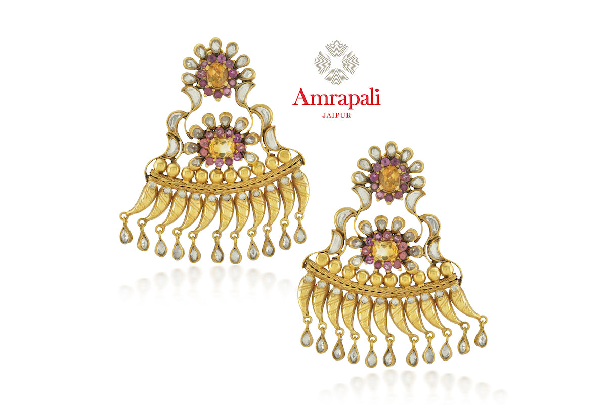 Buy gorgeous Amrapali silver gold plated pink and white glass and citrine earrings online in USA. Enhance your ethnic attires with exquisite Amrapali silver gold plated wedding jewelry, silver gold plated earrings from Pure Elegance Indian fashion store in USA.-front