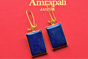 Shop elegant silver gold plated lapis stone earrings online in USA. Elevate your ethnic outfits with beautiful silver jewelry, silver gold plated jewellery, Bollywood jewelry, silver gold plated earrings, gold plated necklaces from Pure Elegance Indian fashion store in USA.-flatlay