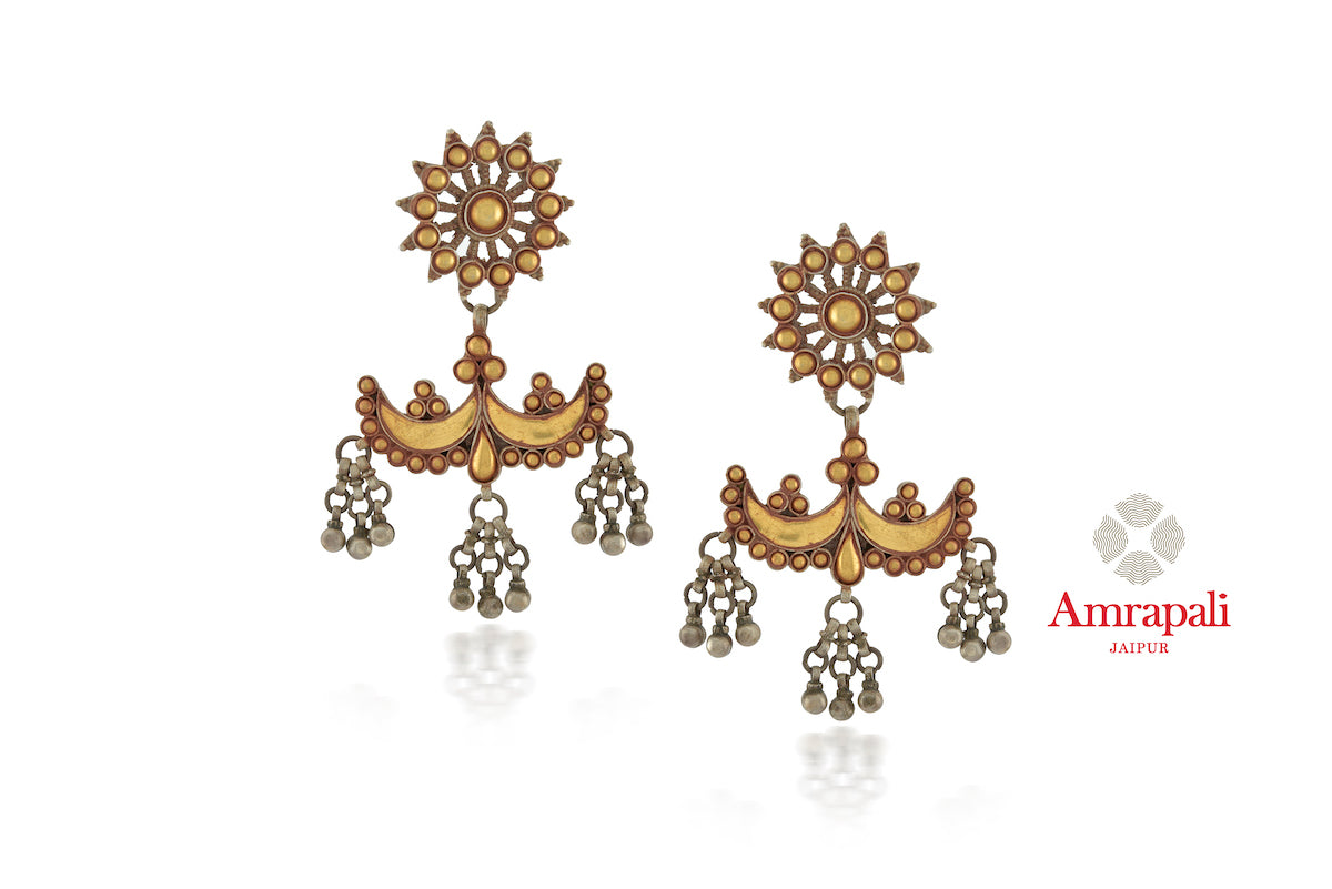 Buy stunning Amrapali silver gold plated two-tone floral top earrings online in USA. Enhance your ethnic attires with exquisite Amrapali silver gold plated wedding jewelry, silver gold plated earrings from Pure Elegance Indian fashion store in USA.-front