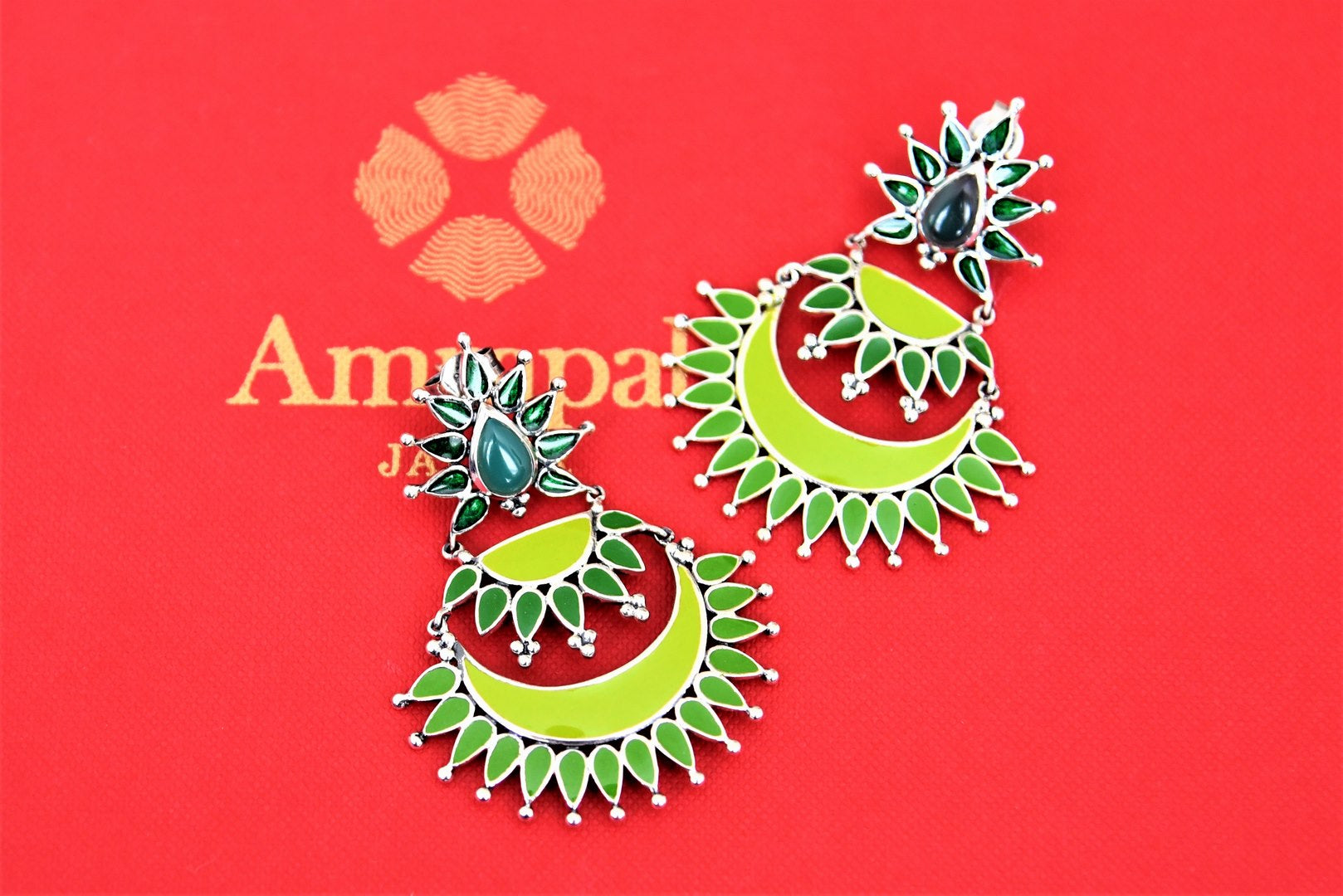 Shop stunning Amrapali two-tone green enamel layered silver chandbali earrings online in USA. Choose from a beautiful range of Indian jewelry, silver jewelry, silver earrings, gold plated jewelry from Pure Elegance Indian fashion store in USA.-full view