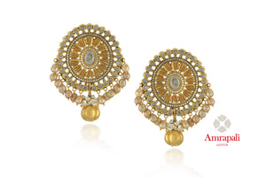 Buy gorgeous Amrapali silver gold plated floral glass and zircon earrings online in USA with floral drops. Enhance your ethnic attires with exquisite Amrapali silver gold plated wedding jewelry, silver gold plated earrings from Pure Elegance Indian fashion store in USA.-front