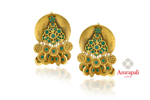 Buy stunning Amrapali silver gold plated green stone earrings online in USA. Enhance your ethnic attires with exquisite Amrapali silver gold plated wedding jewelry, silver gold plated earrings from Pure Elegance Indian fashion store in USA.-full view