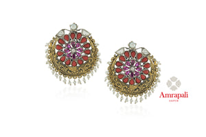 Shop beautiful Amrapali silver gold plated two-tone red stone earrings online in USA with pearls. Enhance your ethnic attires with exquisite Amrapali silver gold plated wedding jewelry, silver gold plated earrings from Pure Elegance Indian fashion store in USA.-front
