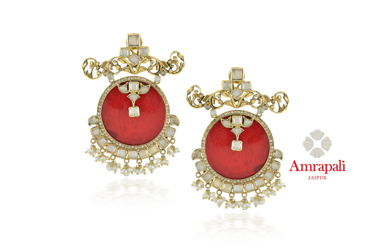 Buy Amrapali silver gold plated red glass zircon earrings online in USA with pearls. Enhance your ethnic attires with exquisite Amrapali silver gold plated wedding jewelry, silver gold plated earrings from Pure Elegance Indian fashion store in USA.-front