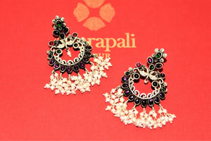 Shop beautiful Amrapali colored stone silver chandbali earrings online in USA with pearls. Choose from a beautiful range of Indian jewelry, silver jewelry, silver earrings, gold plated jewelry from Pure Elegance Indian fashion store in USA.-flatlay