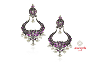 Shop beautiful Amrapali purple glass and pearl beads silver chandbali earrings online in USA. Enhance your ethnic attires with exquisite Amrapali silver jewelry, silver earrings from Pure Elegance Indian fashion store in USA.-front