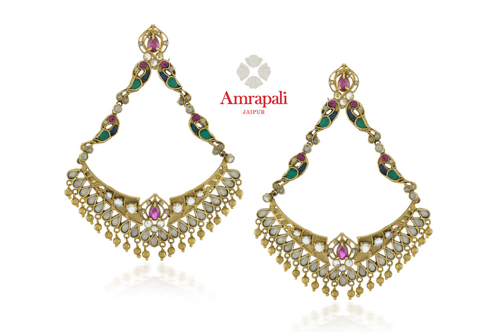 Shop beautiful Amrapali silver gold plated peacock glass chandelier earrings online in USA. Enhance your ethnic attires with exquisite Amrapali silver gold plated wedding jewelry, silver gold plated earrings from Pure Elegance Indian fashion store in USA.-front