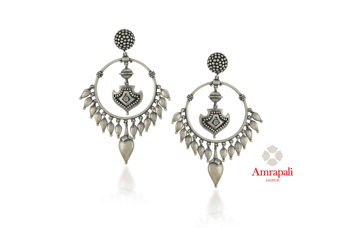 Buy beautiful Amrapali silver drop earrings online in USA with leaf earrings. Enhance your ethnic attires with exquisite Amrapali silver jewelry, silver earrings from Pure Elegance Indian fashion store in USA.-front