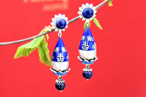 Buy gorgeous Amrapali blue enamel silver earrings online in USA with blue stone drop. Choose from a beautiful range of Indian jewelry, silver jewelry, silver earrings, gold plated jewelry from Pure Elegance Indian fashion store in USA.-front