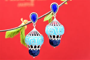 Shop beautiful Amrapali turquoise enamel silver dome shape earrings online in USA with blue stone drop. Choose from a beautiful range of Indian jewelry, silver jewelry, silver earrings, gold plated jewelry from Pure Elegance Indian fashion store in USA.-front