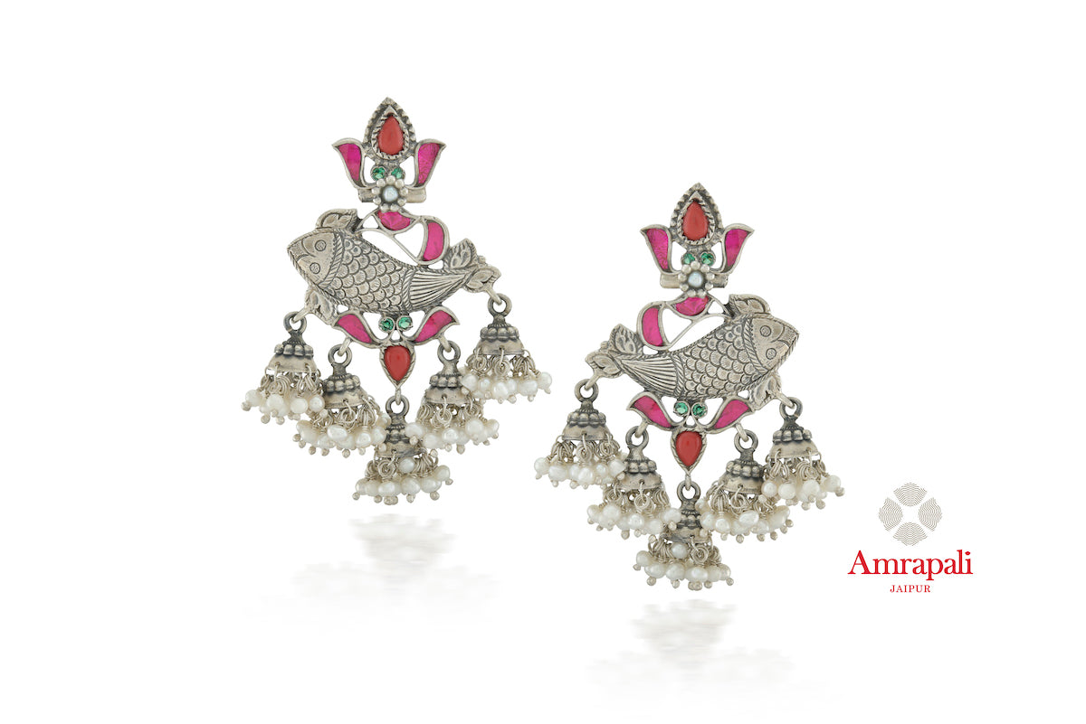 Shop stunning Amrapali silver red pink glass fish earrings online in USA with pearls. Enhance your ethnic attires with exquisite Amrapali silver jewelry, silver earrings from Pure Elegance Indian fashion store in USA.-front